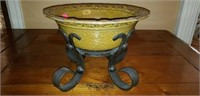 Pottery Bowl in Wrought Iron Stand