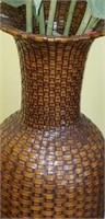 Beautiful large wicker style vases with sunflowers