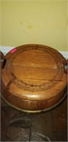 Antique metal banded wood pail with lid