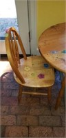 Small kids wooden round table with 2 chairs