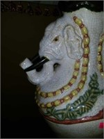 Beautiful Pair of Elephant Pottery Lamps