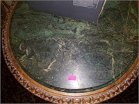 Wood Carved Marble Top Round Plant Stand Table
