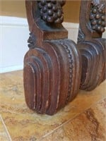 Antique Victorian Oak Wood Carved Wall Sconces