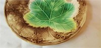 Antique Majolica Large Green Leaf Plate