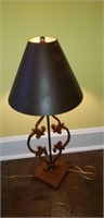 Iron lamp base with tin shade