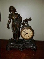 Beautiful Antique Bronze Mantle Clock with Key