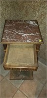 Marble inlay 2 drawer roll around cabinet