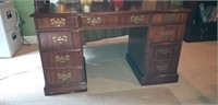 7 drawer solid wood desk with brass handles