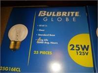 Brand New Bulbrite Globe Clear 25 watt Bulbs