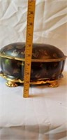 Asian Footed Painted Oval Trinket Box