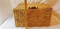Metal framed Thatched Square Basket
