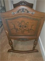 STUNNING Antique Wood Carved Baby Cradle