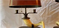 Pair of Stunning Faux Ram Horn Lamps