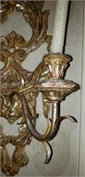 Double candle candelabra gold like