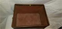 Nice Vintage Leather & Metal Storage Bin