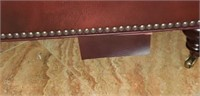 Burgundy leather roll around ottoman