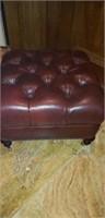 Burgundy leather roll around ottoman