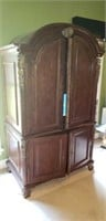 Large Modern Round Top Armoire Ent. Center
