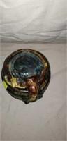 Very Cool Stoneware Majolica Stlye Biscuit Jar