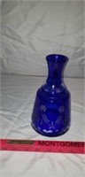 Cobalt Blue Cut to Clear Wine Water Decanter