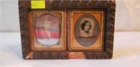 Lot of 2 Antique Tin Type Photos Golden Frame