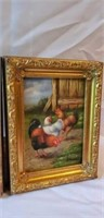 Pair of Rooster Paintings on Board Gold Frame