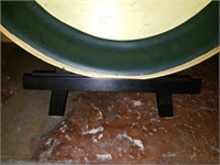 Large Beautiful Metal Handpainted Plate & Stand