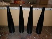 Lot of 4 Tall Green Glass Bottles