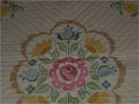 Beautiful Large Cross-stitched Floral Blanket