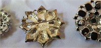 Estate lot of 3 Costume Jewelry Broaches