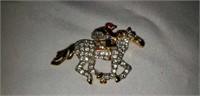 Nice Vintage Racing Horse Broach Faux Diamonds