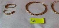 Lot of 2 Pairs of Gold Earrings