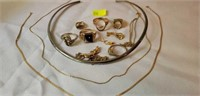 Estate Jewelry Lot Mostly Gold and Some Costume