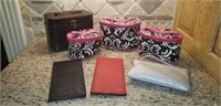 Estate lot of travel make up cases, leather wallet