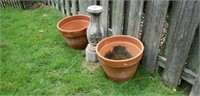 Pair of Terracotta Pots and Concrete Base