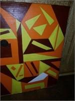 Pair of Beautiful Abstract Folk Art on Board