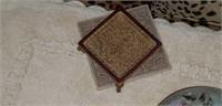 Bath rug, leopard decorative pillows,  trinkets