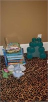 Estate lot of collectable kids books,& weights