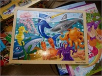 Estate Lot of Childrens' Book, Wooden Puzzles,toys