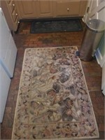 Lot of 2 Small Rugs - Floral & Bon Appetit!