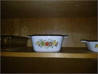 Kitchen Cabinet Full of Cornig Ware, Glassware,Etc