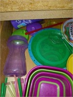 Drawer full of Childrens' Bowls Plates and more