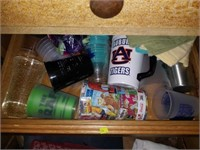 Two Drawer Fulls of Kitchen Misc-Cups, Towels Etc.
