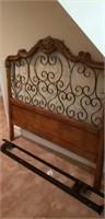 Beautiful wood and metal headboard with rails