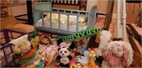 Estate lot of a vintage metal doll cradle, ect