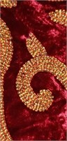 Farrisilk Red in color hallway runner with beads