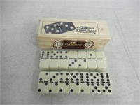Brybelly Double Six Dominoes with Brass Spinners