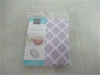 Kushies Baby Fitted Bassinet Sheet, Lilac Lattice