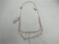 Canvas Purple & Gold Adjustable Necklace