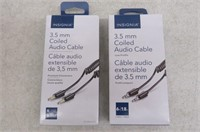 (2) Insignia 3' 3.5mm Coiled Audio Cable